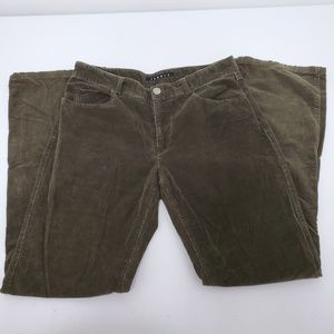 Theory Olive Green Slight Boot Cut Corduroy Pants